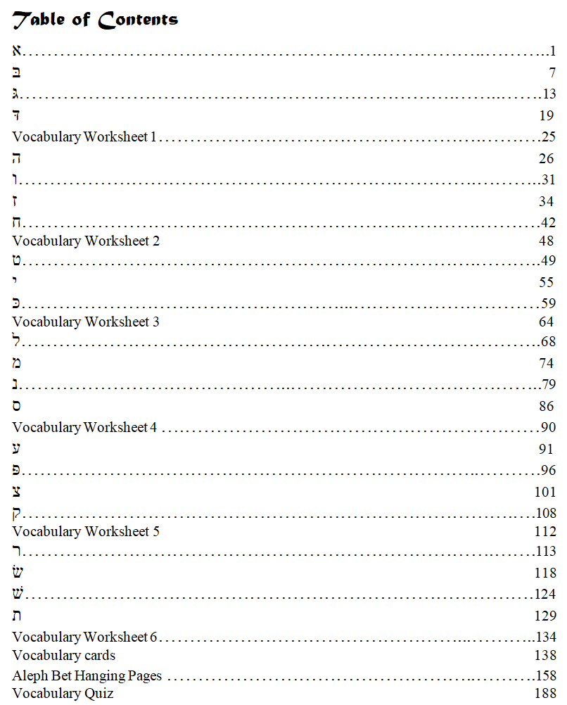 Hebrew Primer student manual Table of Contents