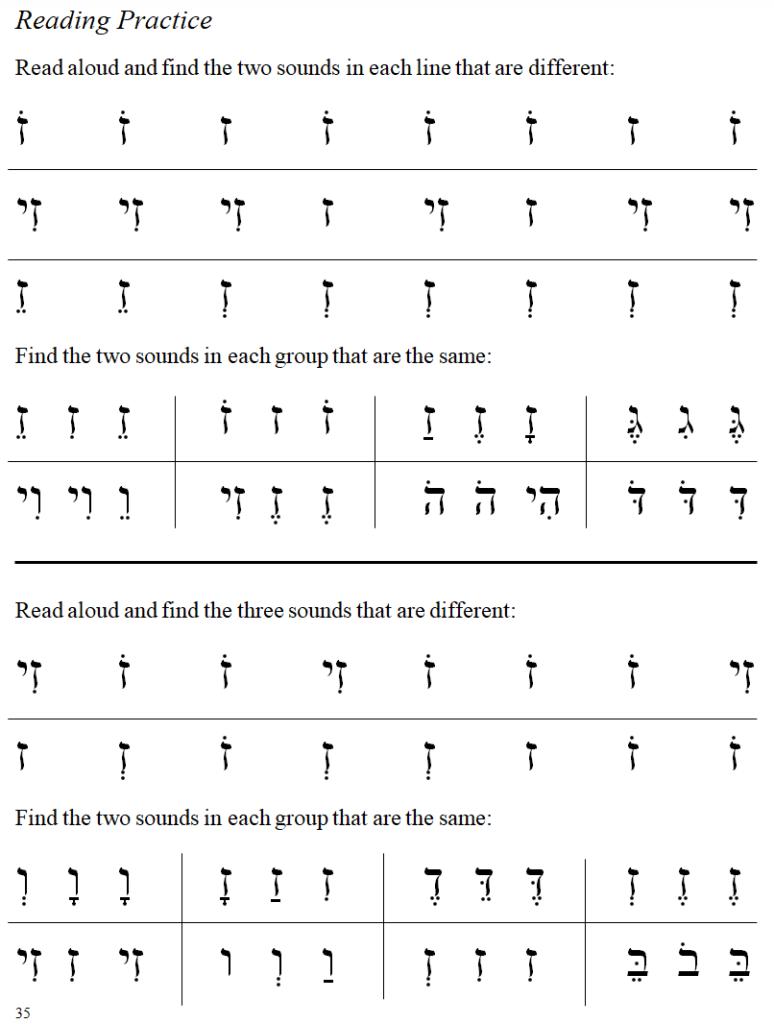 Hebrew primer reading page