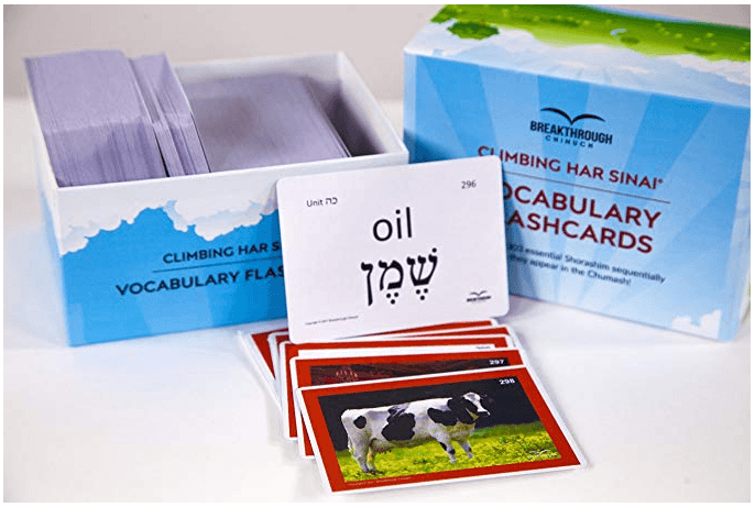 Hebrew vocabulary flashcards with pictures